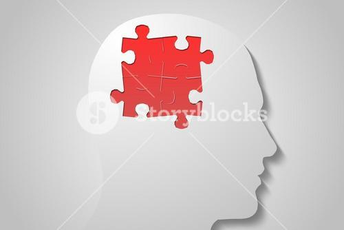 Red jigsaw on white head