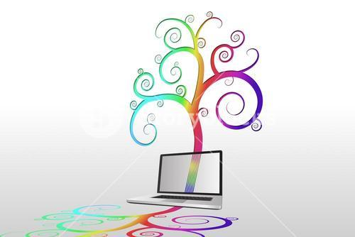 Laptop with colourful spiral design