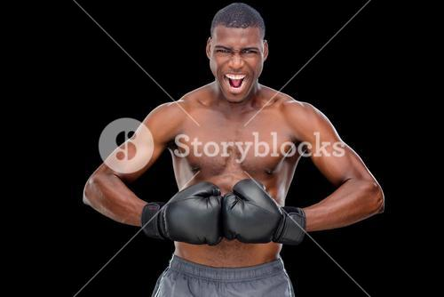 Portrait of shirtless muscular boxer flexing muscles