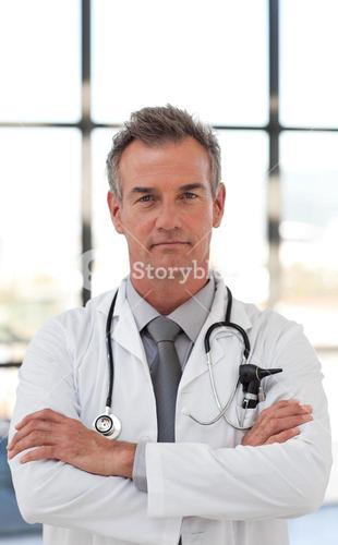 Assertive doctor in a hospital