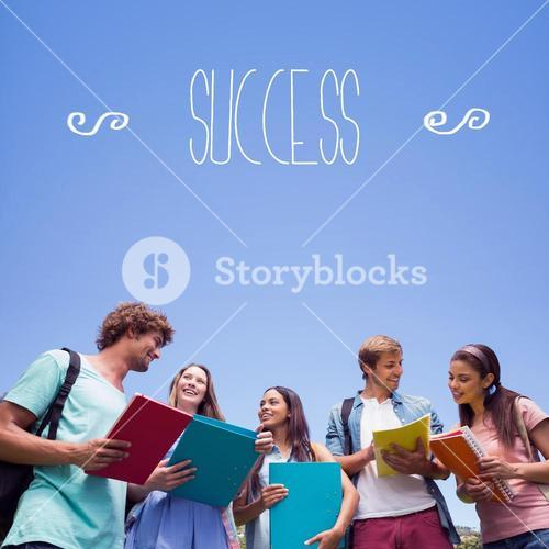 Success against students standing and chatting together
