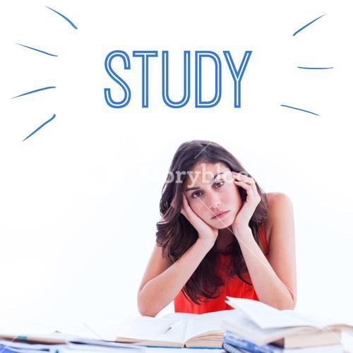 Study against stressed student at desk