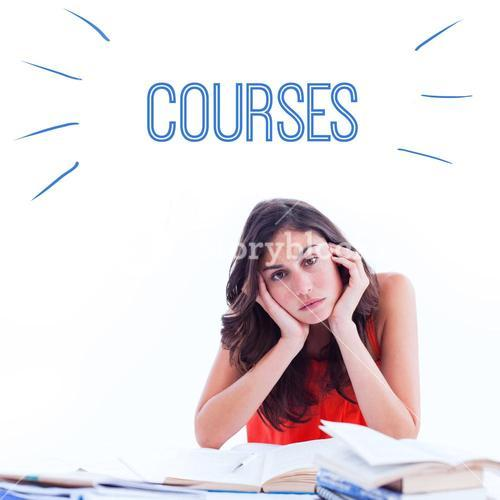 Courses against stressed student at desk