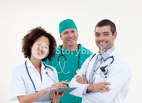Young team of doctors smiling