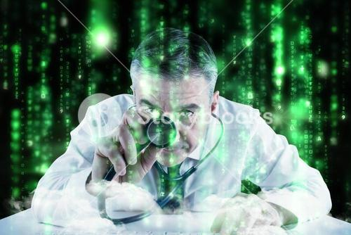 Composite image of mature businessman running diagnostics