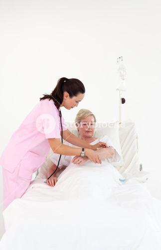Patient is being observed by a doctor