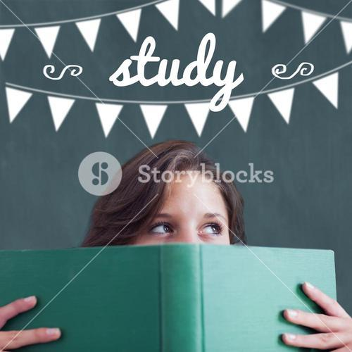 Study against student holding book