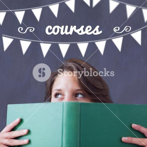 Courses against student holding book