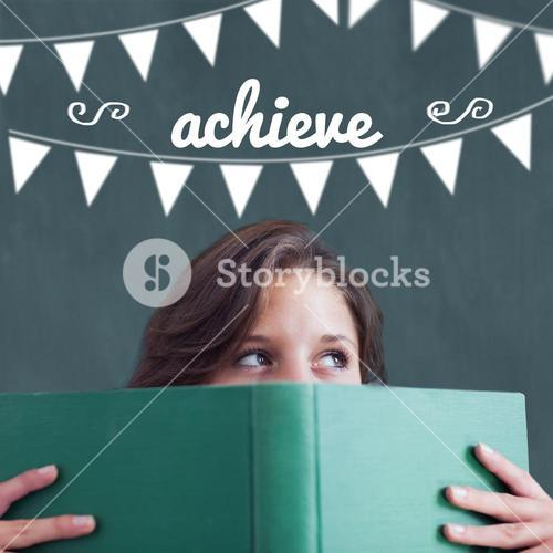 Achieve against student holding book