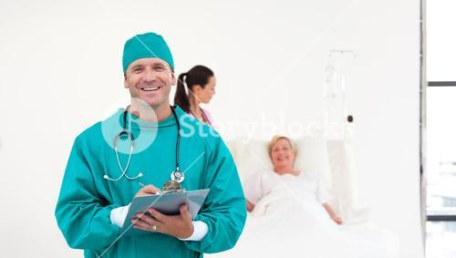 Selfassured surgeon in a hospital