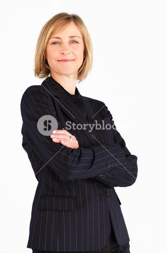 Smiling female businessmanager smiling at the camera