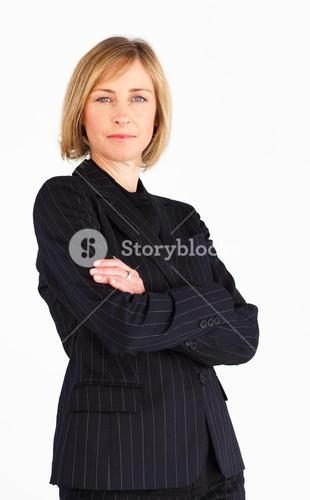 Happy female businessmanager smiling at the camera