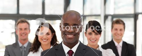 View of a confident business team looking at the camera