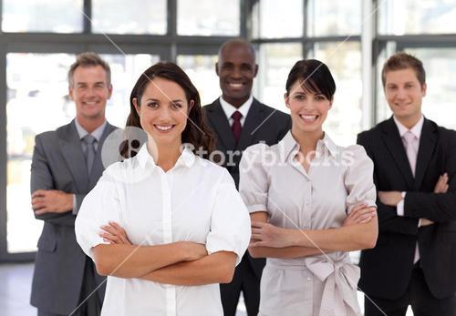 Portrait of smiling business people looking at the camera