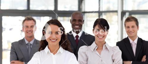 Portrait of cute business people looking at the camera