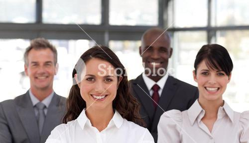 Portrait of happy business people looking at the camera
