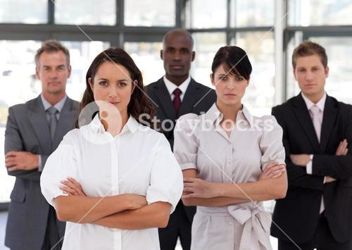 Portrait of diverse business people looking at the camera