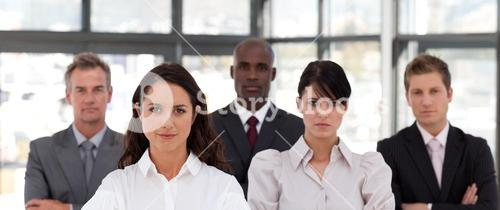 Portrait of business people looking at the camera