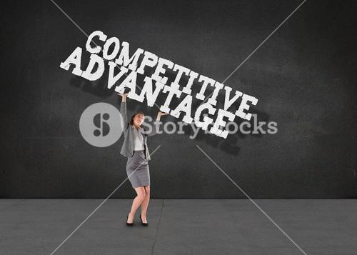 Composite image of businesswoman pushing up with hands