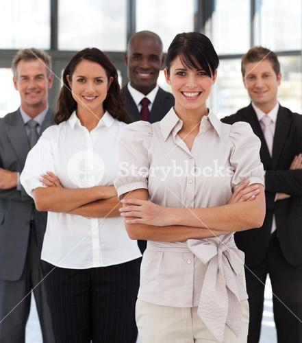 Portrait of joyful business people looking at the camera