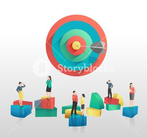 Business people and colourful pie chart segments and target