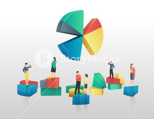 Business people and colourful pie chart segments