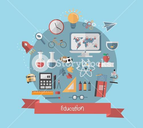 Education banner with school icons