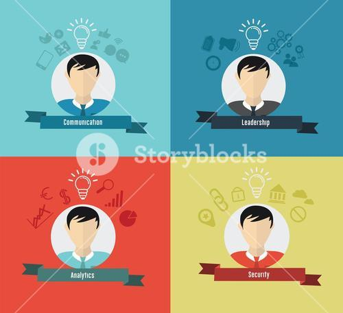Business qualities with profiles icons