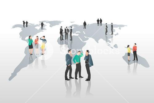 Business people standing on world map