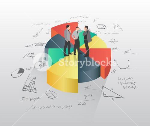 Businessmen standing on pie chart with math equations