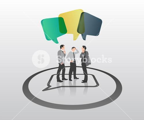 Businessmen standing with speech bubbles