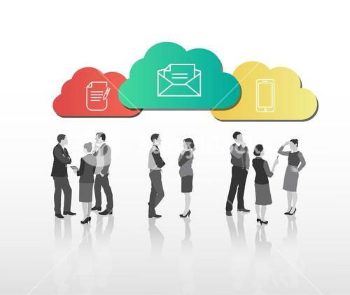 Business people standing under app clouds