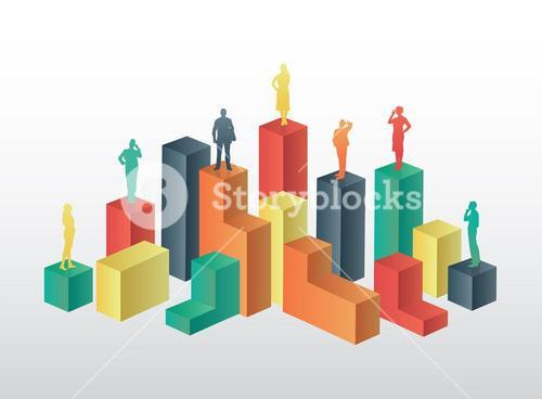Business people standing on structure