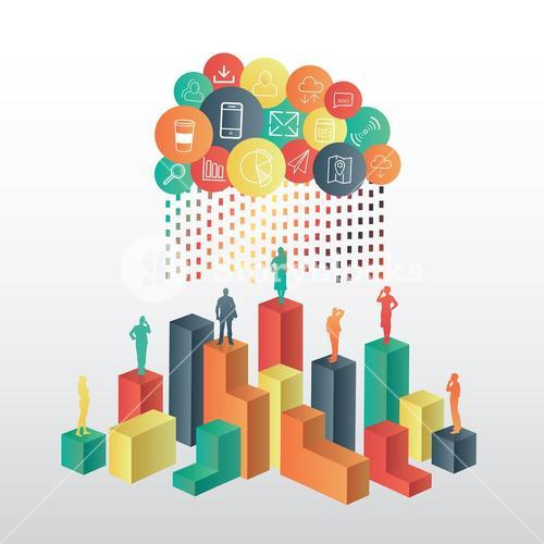 Business people standing on structure under app cloud