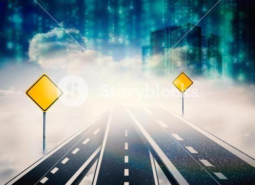 Composite image of road over clouds with road signs on it