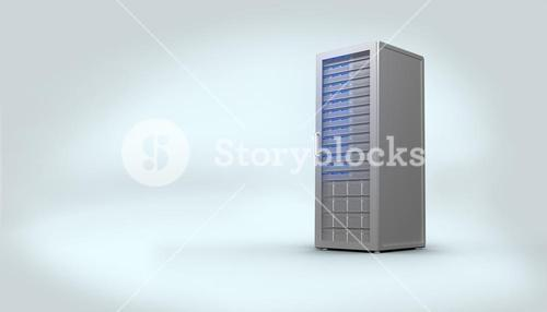 Digitally generated grey server tower