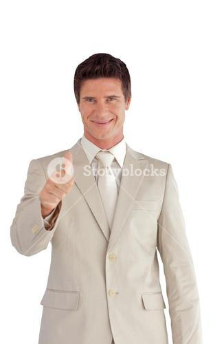 Cute businessman making a thumbup