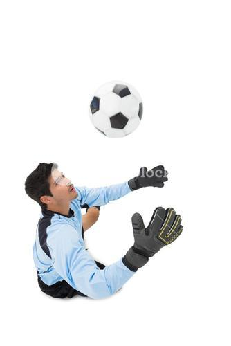 High angle view of goal keeper in action