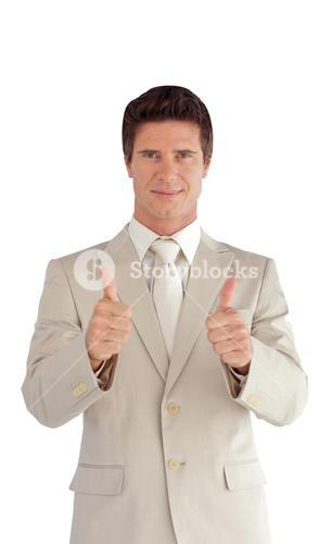 positive businessman making a thumbup