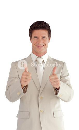 Selfassured businessman making a thumb-up
