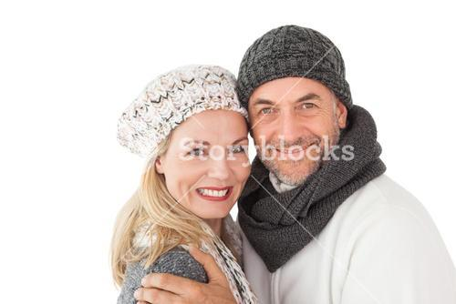 Mature couple in warm clothing