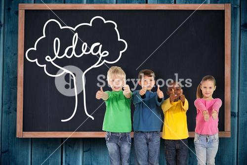 Composite image of cute kids showing thumbs up