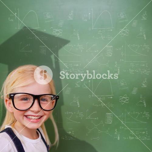 Composite image of cute pupil with graduate shadow