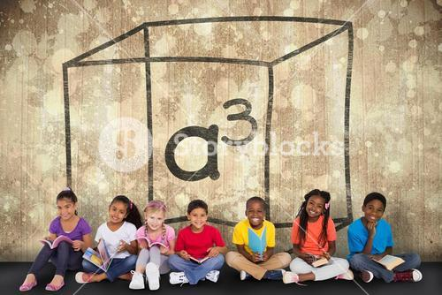 Composite image of cute pupils smiling at camera with books