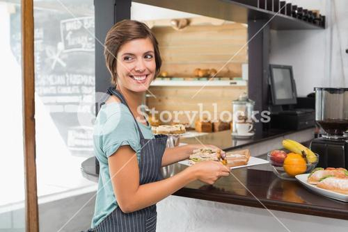 Pretty waitress holding plate of food