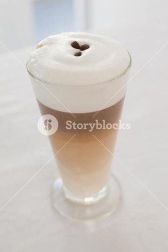 Close up of hot frothy latte