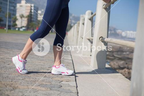 Fit woman standing on the pier
