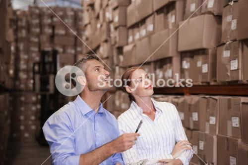 Warehouse team working together