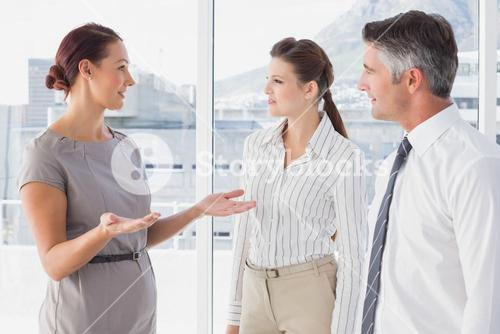 Businesswoman talking with her co-workers