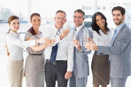 Business workers having a party